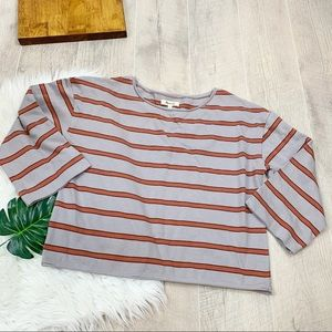 Madewell Striped Gray Knit Cropped 3/4 Sleeve Top